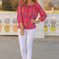 Buttoned Up Floral Blouse, Fuch