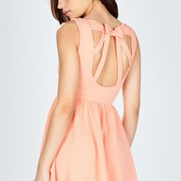 Caged Bow Back Flare Dress