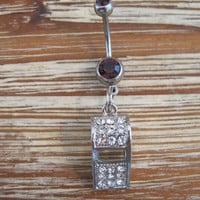 Belly Button Ring - Body Jewelry - Rhinestone Whistle with douible purple gem stones Belly Button Ring