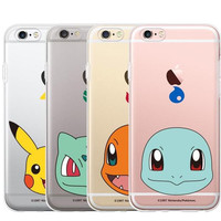 Mobile game Pokemon Go Pikachu Charmander Gengar Eevee Snorlax Lapras Transparent protective sleeve for Iphone 6 6 Plus