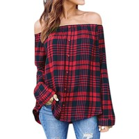 STYLEDOME Women's Casual Plaid Sexy Off Shoulder Long Sleeve Shirt Tops Blouse