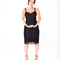 Lala Belle The Label | Black Scalloped Lace Bra Dress Plus Size