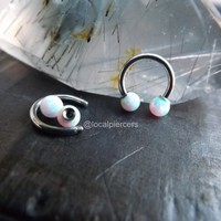 Opal Daith Septum Nose Ring 16g 5/16″ White Opals Tragus Piercing Horseshoe Body Jewelry Helix Piercings Conch Earrings Silver Gemstones