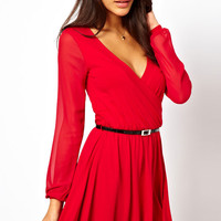 Red Wrapped Skater Dress with Belt