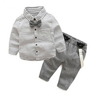 Spring autumn baby boys clothing set Gentleman long-sleeve stripe Bow tie shirt + suspenders newborn infant clothes suit