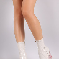 Patent Lucite Chunky Heeled Boots