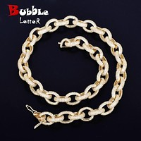 """12mm Iced Heavy Small Punk Choker Bling Cubic Zircon Men's Hip hop Necklace Rock Jewelry Gold Color Chain 18"""" 20""""  - jewelry"""