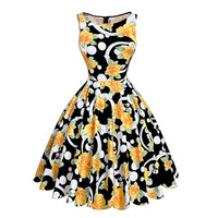 Print floral 50s 60s Vintage dresses Audrey Hepburn Sleeveless new style summer retro dress Vestidos robe womens clothing