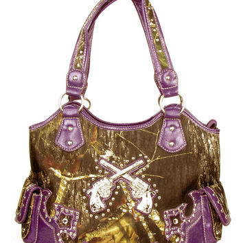 * Western Large Purple Camouflage Pistol Gun Rhinestone Fashion Handbag