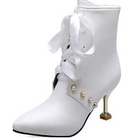 A new line of all-in-one pearl strappy pointy plus-size stiletto heels shoes