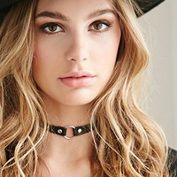 Ring Charm Faux Leather Choker