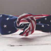 Reversible Stars and Stripes Red White Blue 4th of July Patriotic America Summer Twist Head Scarf Dolly Bow Wire Headband Bun Wrap