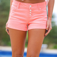 Name Of The Game Neon Coral Shorts