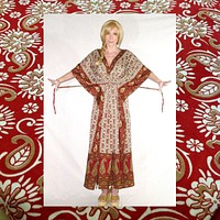 SALE 50% OFF India Kaftan Maxi Dress Red Paisley Exotic Print Caftan Boho Gown Bohemian Hippie Gypsy  Small Medium Large Extra Large Plus Sizes Too