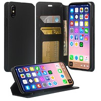 Apple iPhone XS Max Case, Apple A1921 Case, Faux Leather Magnetic Flip Fold [Kickstand] Protective Wallet Case Cover - Black
