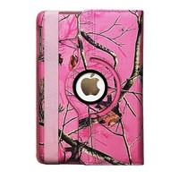 APPLE IPAD MINI REAL OAK TREE PINK CAMO WITH ROTATING MAGNETIC ROTATING 360 DEGREES SMART COVER CASE WITH A BAND