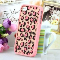 pink heart leopard print Case Cover for Apple iPhone 5