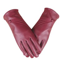 FEITONG Women's gloves Luxurious Women Girl Leather Winter Super Warm Gloves Cashmere Elegant Solid High Quality female Glove
