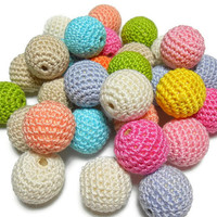 Crocheted Beads, Wood Beads, 66 Pcs, 18mm Beads, Round Beads, Wholesale Lot, Natural Wood, Teething Beads, Nursing Necklace, Craft Supplies