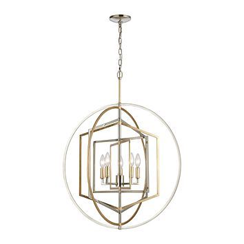 Geosphere 5-Light Chandelier in Polished Nickel and Parisian Gold Leaf