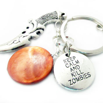 Sword Keychain, Boyfriend Gift, Zombie Keychain, Gift Under 20, Keep Calm Keychain, Car Accessories, Knife Keychain, Gift for Dad, MK07