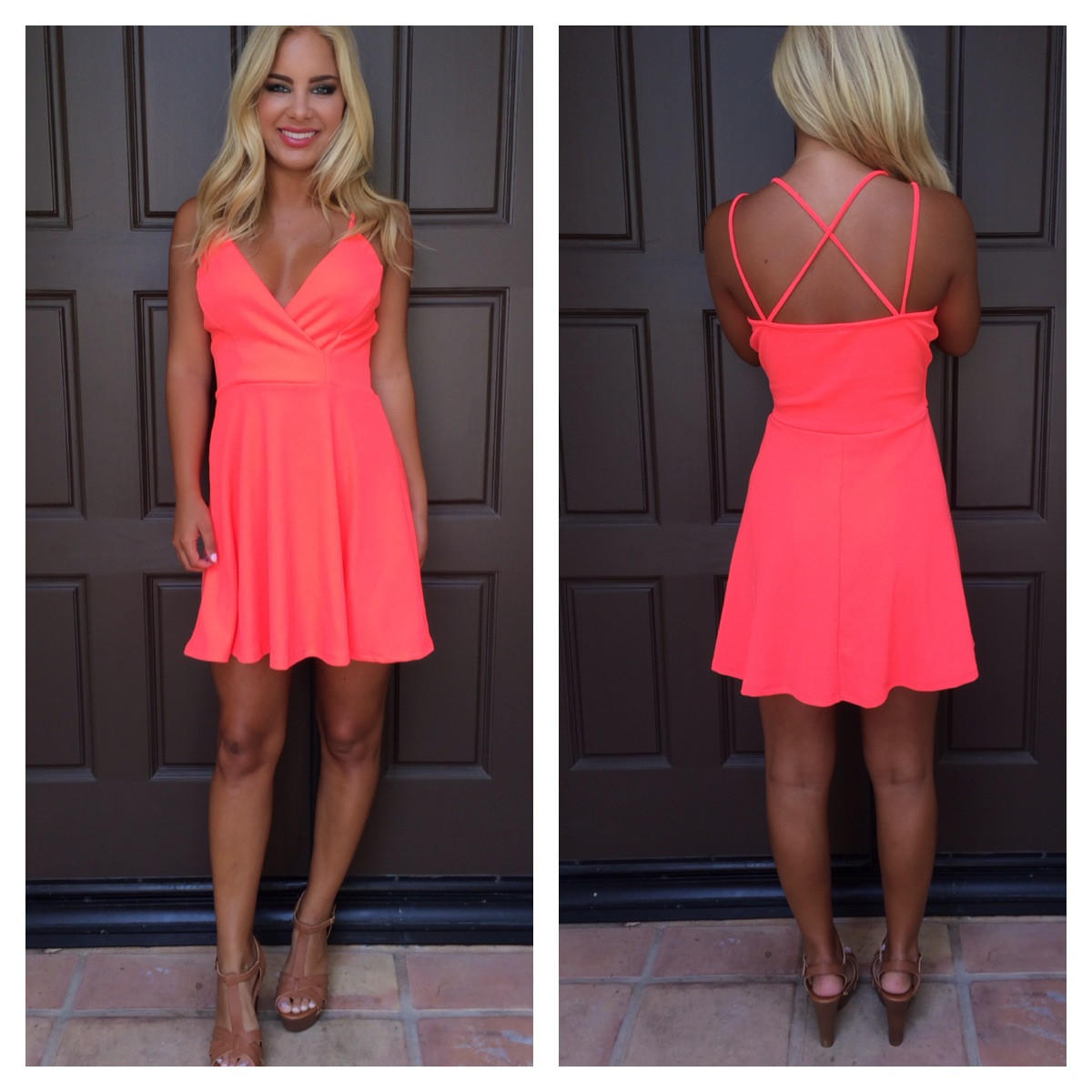 Image of Bright And Early Flare Dress - NEON CORAL