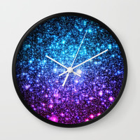 Glitter Galaxy Stars : Turquoise Blue Purple Hot Pink Ombre Wall Clock by vintageby2sweet