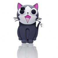 S9Q 3D Cartoon Cute Cat Animal Silicone Soft Case Cover Back Skin For Apple iPhone 5 5G Gray:Amazon:Cell Phones & Accessories