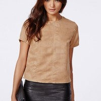 Missguided - Dena Suede Shell Top Taupe