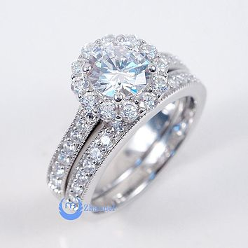 1ct Round Cut Engagement Wedding Set 2 RINGS Signity CZ Rhodium Sterling Silver