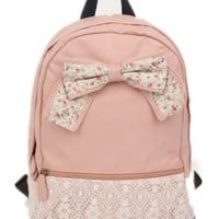 Coofit® Generic Girls Vintage Canvas Bow Cute Rucksack Satchel Travel Schoolbag Bookbag Backpack