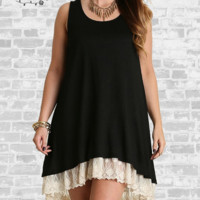 Lace Trim Tank Dress - Black - Small only