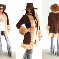 Vintage 70s SHEARLING Sheepskin Suede Penny Lane Coat // Princess Jacket // Brown White // Hippie Gypsy Boho // XS Extra Small / Small