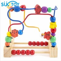 Kid's Classic Soft Montessori Wooden Bead Maze Toy Set with colorful beads early educational toy with colorbox gift for infant