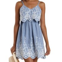 Chambray Flounce Dress by Charlotte Russe