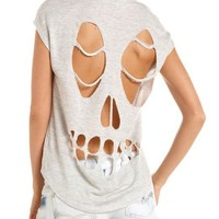 Skull Cutout French Terry Top: Charlotte Russe