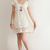 Boho Chic Vanilla Crochet Dress