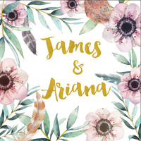 CUSTOM NAME Backdrop Watercolor Floral Print Wife Fiancee Feyonce Wedding Bride Future Mrs Shower Bridal Fabric Cloth Background