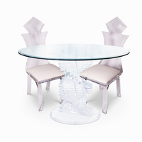 Lucite Dining Set, Table with 4 Chairs