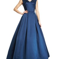 Sleeveless V-Neck Ball Gown, Navy
