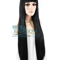 "31"" Long Straight Jet Black Fashion Synthetic Hair Wig TBZ871"
