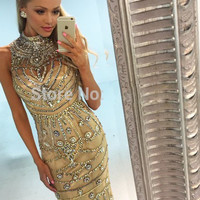 fashion luxuey long prom dress 2016 high neck  crystal beaded slim women pageant Dress for formal evening party