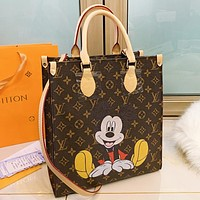 LV & Disney Fashion New mouse monogram print leather shoulder bag crossbody bag handbag