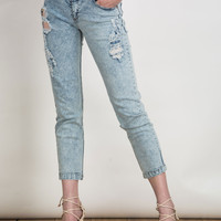 Blue Acid Wash Distressed Cropped Jeans