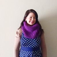Custom 100% wool chunky knit oversized thick cowl scarves - classic fit -  in royal blue, hot pink, apple green, violet, emerald green, or d