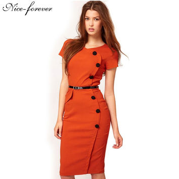 2015 Hot Selling Womens Vintage dress women summer OL style button short sleeve slim Fitted business pencil work dress 531