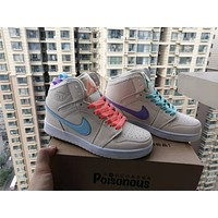 """Nike Air Jordan 1"" Women Casual Fashion Multicolor Mandarin Duck High Help Plate Shoes Sneakers"
