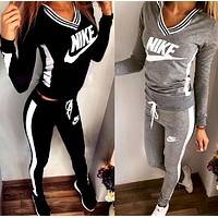 """Nike""Print V-Neck Sweatshirt Sweater Pants Sweatpants Set Two-Piece Sportswear"