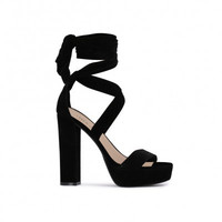 Suede Ankle Wrap Heels Black