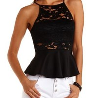 Black High-Neck Lace Peplum Top by Charlotte Russe